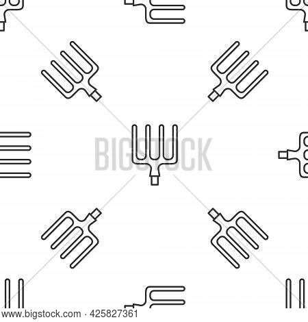 Grey Line Garden Pitchfork Icon Isolated Seamless Pattern On White Background. Garden Fork Sign. Too