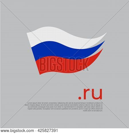 Flag Of Russia. Colored Stripes Russian Flag On A White Background. Vector Design Of National Poster