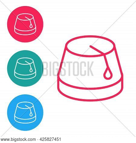 Red Line Turkish Hat Icon Isolated On White Background. Set Icons In Circle Buttons. Vector