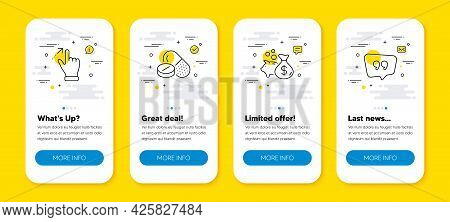 Vector Set Of Touchscreen Gesture, Medical Drugs And Loan Line Icons Set. Ui Phone App Screens With