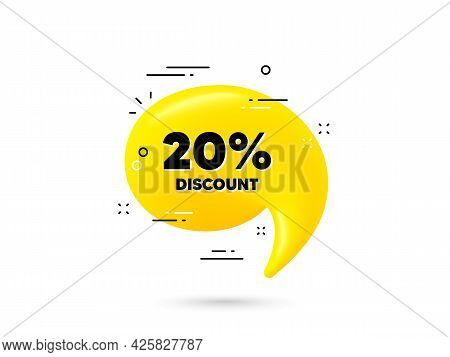 20 Percent Discount. Yellow 3d Chat Bubble. Sale Offer Price Sign. Special Offer Symbol. Discount Mi