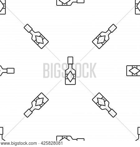 Grey Line Tabasco Sauce Icon Isolated Seamless Pattern On White Background. Chili Cayenne Pepper Sau