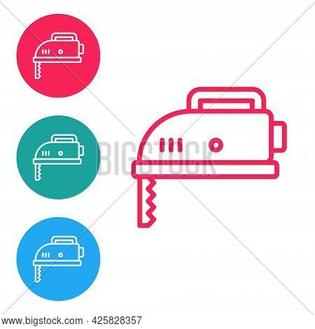 Red Line Electric Jigsaw With Steel Sharp Blade Icon Isolated On White Background. Power Tool For Wo
