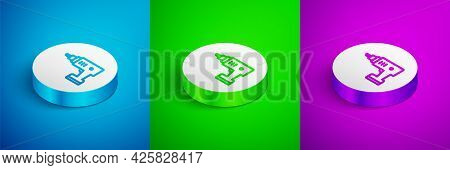 Isometric Line Electric Cordless Screwdriver Icon Isolated On Blue, Green And Purple Background. Ele