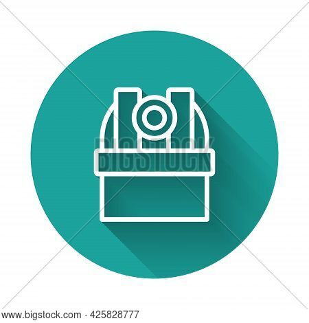 White Line Astronomical Observatory Icon Isolated With Long Shadow Background. Observatory With A Te