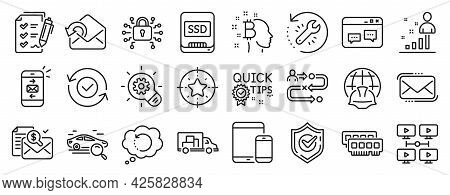 Set Of Technology Icons, Such As Messenger Mail, Security Confirmed, Stats Icons. Bitcoin Think, Vid