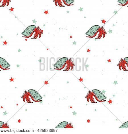 Vector Seamless Pattern With Hermit Crab And Stars
