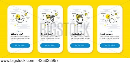 Vector Set Of Seo, Tea And Market Location Line Icons Set. Ui Phone App Screens With Line Icons. Swi