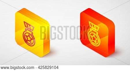 Isometric Line Medal With Star Icon Isolated On Grey Background. Winner Achievement Sign. Award Meda