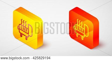 Isometric Line Barbecue Grill Icon Isolated On Grey Background. Bbq Grill Party. Yellow And Orange S