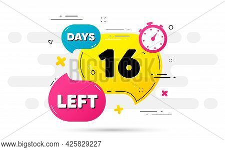 Sixteen Days Left Icon. Countdown Number On Abstract Flow Pattern. 16 Days To Go Sign. Count Offer D