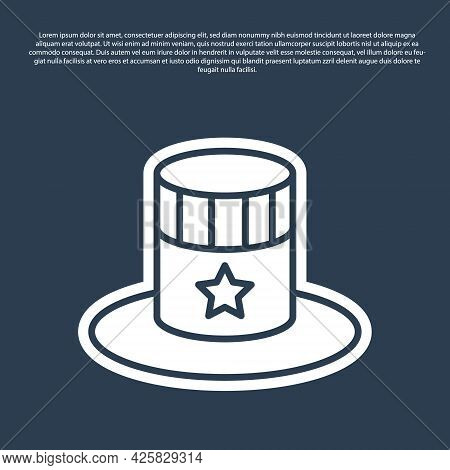 Blue Line Patriotic American Top Hat Icon Isolated On Blue Background. Uncle Sam Hat. American Hat I