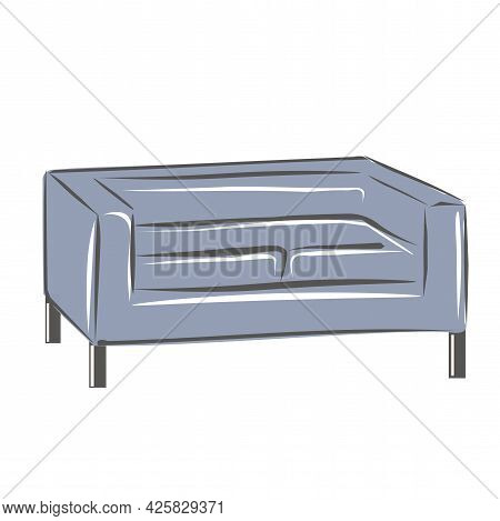 Blue Loft Modern Sofa In The Living Room. A Set Of Furniture For A Classic Interior. Interior Design