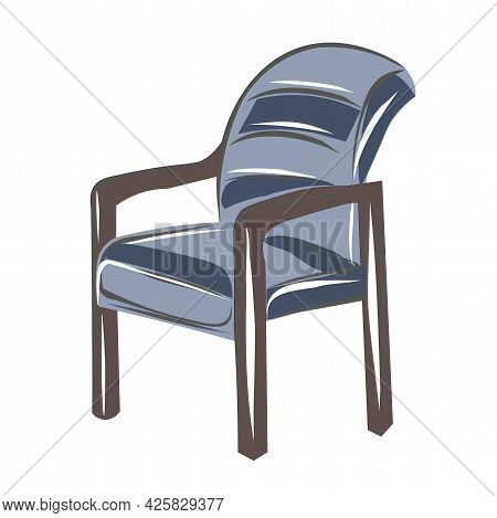Blue Armchair, Work Chair, Office Chair. A Set Of Furniture For A Classic Interior. Interior Design.