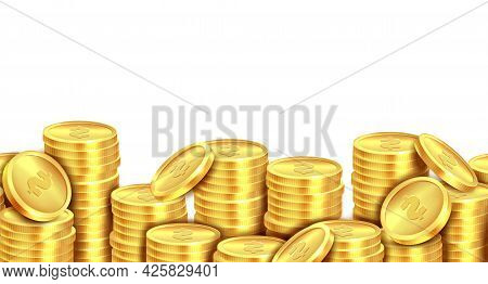 Coins Stack Gold. Golden Coin Money Pile Realistic Backdrop, Stacked Dollar Lots, Cash Profits, Gamb