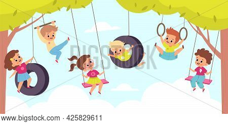 Rope Swing. Happy Cute Children Hang On Swings, Outdoor Kids Games, Little Boys And Girls Altitude F