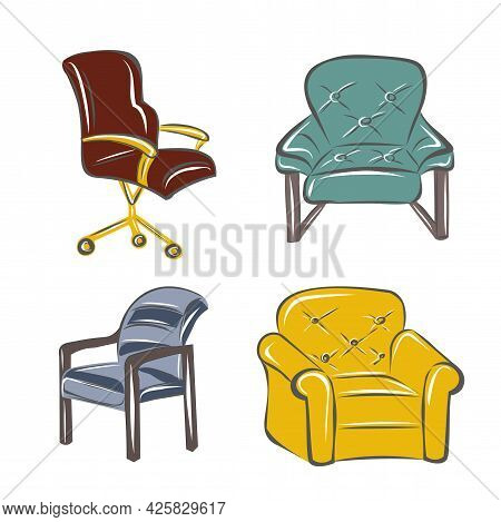 A Set Of Armchairs, Chairs In A Different Style. Interiors, Furniture, Design. Classic, Loft, Work C