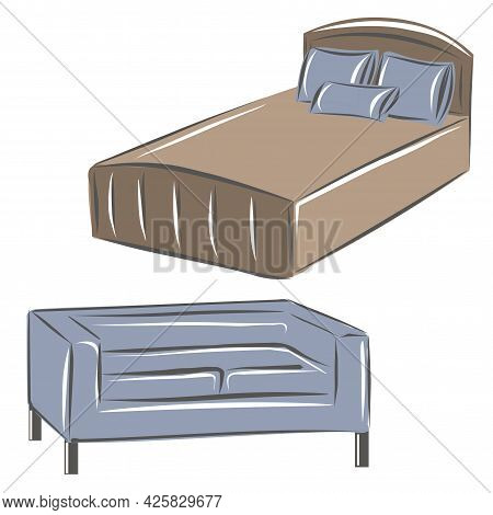 Bed With Pillows And Blanket And Sofa For Bedroom Decor. A Set Of Furniture For A Classic Interior.