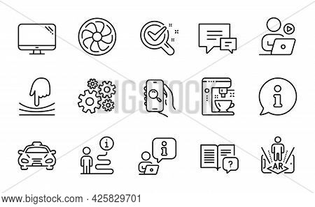 Technology Icons Set. Included Icon As Comment, Instruction Manual, Elastic Signs. Cogwheel, Fan Eng