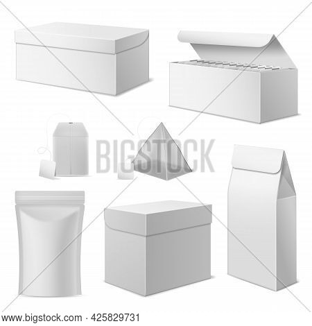 Realistic Paper Tea Package. White Boxes And Different Tea Bags With Blank Labels, 3d Isolated Zip P