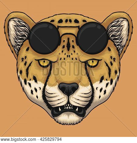 Cheetah Head Eyeglasses Vector Illustration For Your Company Or Brand