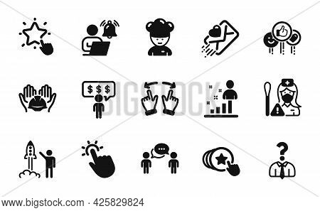 Vector Set Of Launch Project, Hiring Employees And Hold Heart Icons Simple Set. Stats, Consulting Bu
