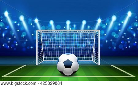 Penalty Kick. Realistic Soccer Ball Lying On Grass Front Empty Football Goal, Goalkeeper Place, Spor