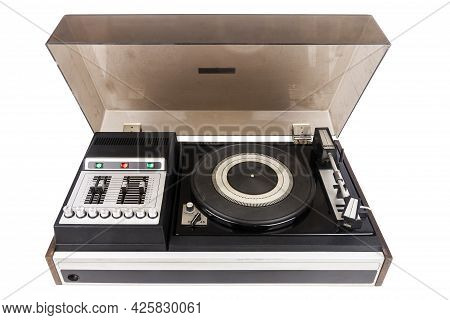 Vintage Turntable Vinyl Record Player With Dust Cover Isolated On White Background.