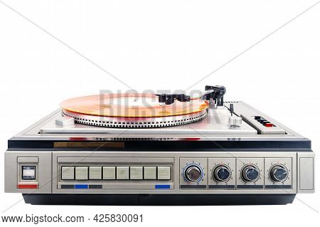 Vintage Turntable Record Player With Red Vinyl Isolated On White Background.