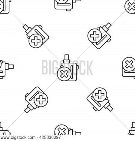 Grey Line Electronic Cigarette Icon Isolated Seamless Pattern On White Background. Vape Smoking Tool