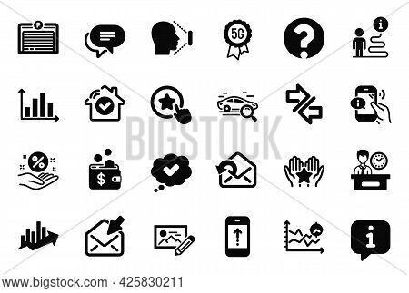 Vector Set Of Technology Icons Related To Approved, Synchronize And Photo Edit Icons. Question Mark,