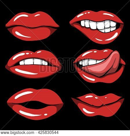 Sexy Red Lips Set Vector Illustration For Your Company Or Brand