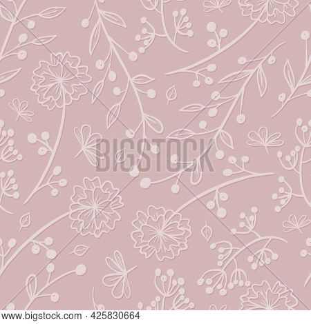 Vector Cute Floral Pattern On A Pink Background. Delicate Twigs And Branches With Leaves. Doodle Blo