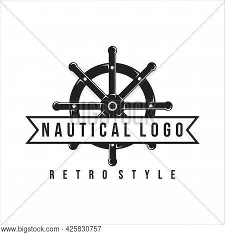 Nautical Logo Vintage Vector Template Icon Illustration Design. Ship Steering Wheel Emblem Retro For