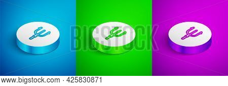 Isometric Line Neptune Trident Icon Isolated On Blue, Green And Purple Background. White Circle Butt