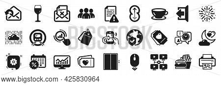 Set Of Business Icons, Such As Metro Subway, Wine Glass, Send Mail Icons. Instruction Manual, Lift,