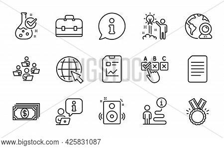 Education Icons Set. Included Icon As Creative Idea, Report Document, Video Conference Signs. Teamwo