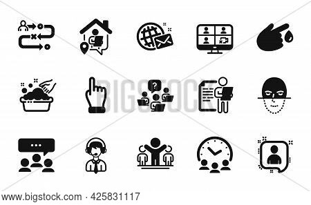 Vector Set Of Hand Washing, Face Recognition And Journey Path Icons Simple Set. Blood Donation, Meet