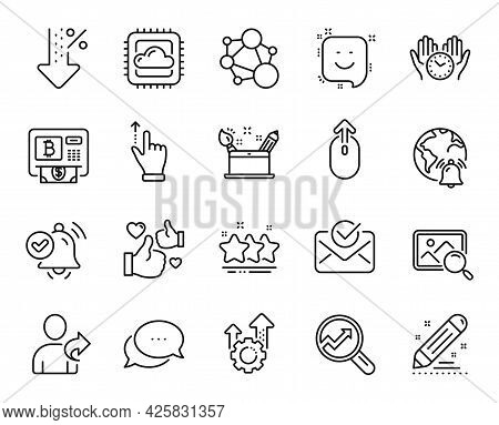 Vector Set Of Seo Gear, Approved Mail And Safe Time Line Icons Set. Bitcoin Atm, Smile And Internet