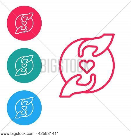 Red Line Pleasant Relationship Icon Isolated On White Background. Romantic Relationship Or Pleasant