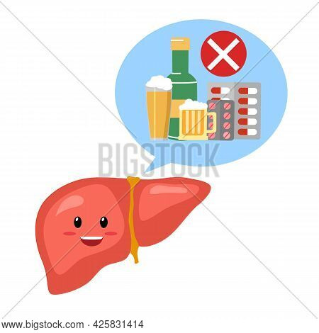Healthy Liver Cartoon Character With Prohibited Sign Of Alcohol Drink And Medicine In Flat Design On