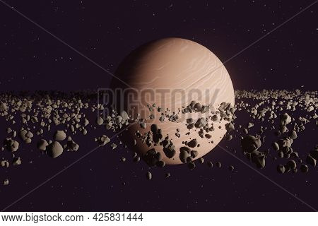 Planet Saturn Or Jupiter Close-up With Stone Ring In Space. 3d Illustration