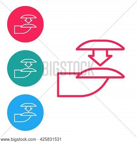 Red Line Set Of False Nails For Manicure Icon Isolated On White Background. Varnish Color Palette Fo