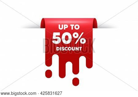 Up To 50 Percent Discount. Red Ribbon Tag Banner. Sale Offer Price Sign. Special Offer Symbol. Save