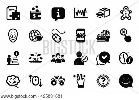 Vector Set Of Business Icons Related To Edit User, Group And Star Icons. Coffee Beans, Smile And Yum