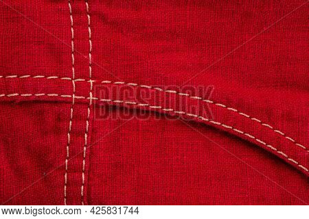 A Fragment Of A Sewing Product, Clothing Made Of Natural Linen And Cotton, A Double Seam, The Connec