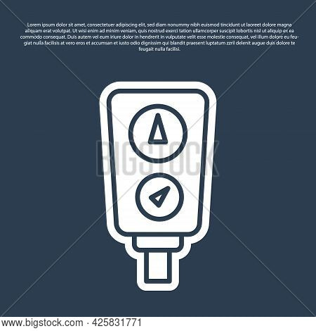 Blue Line Gauge Scale Icon Isolated On Blue Background. Satisfaction, Temperature, Manometer, Risk,