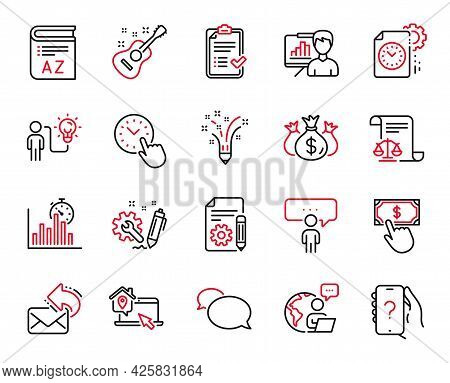 Vector Set Of Education Icons Related To Business Idea, Engineering And Messenger Icons. Approved Ch