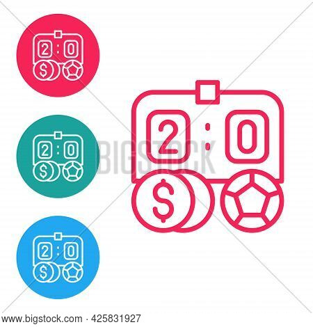 Red Line Soccer Football Betting Money Icon Isolated On White Background. Football Bet Bookmaker. So