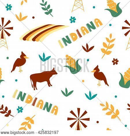 Usa Collection. Vector Illustration Of Indiana Theme. State Symbols - Seamless Pattern